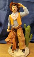 HOMCO Cowboy Porcelain Figurine #1419 Carrying Saddle
