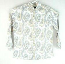 Nat Nast Luxury Originals Mens Paisley White Blue Gold Long-Sleeve Linen Shirt M