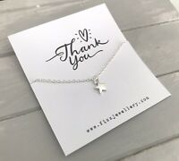 "Thank You Silver Plated 18"" Necklace Message Card Quote Gift Teachers Nursery"