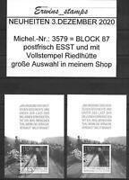 Bund 3.Dezember 2020 Mi.-Nr:3579 Block 87 Kniefall postfrisch ESST Bonn