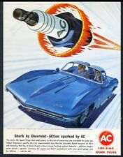 1963 Corvette Shark XP-755 experimental car art AC spark plugs vintage print ad