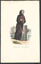 Holy card lamina inciscione de San Francisco de Asis andachtsbild santino estamp