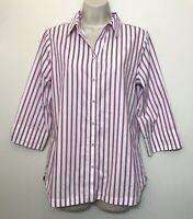 Chicos 0 Button Down Shirt Purple & White Stripe 3/4 Sleeve No Iron Cotton Top