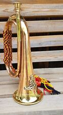 More details for military copper bugle with royal artillery badge music band army soldier
