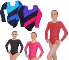 Roch Valley Childrens Girls Plain Leotard Bodysuit Dance Gymnastics Long Sleeve