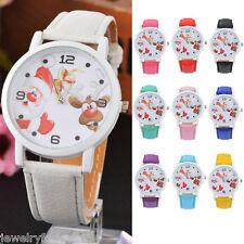 2017 Damen Uhr Armbanduhr Quarzuhr Lederband Weihnachtsmann Elch Sport Mode JO