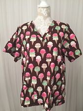 Tafford Scrubs Top Nursing Dental Brown Pink Ice Cream Cones Womens Small