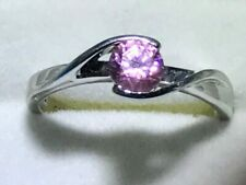 Sterling Silver Ring with Round Pink Rhinestone - Size 7