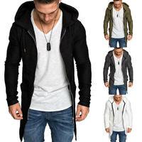 Slim Casual Sweater Mens Coat Hoodie Outwear Cardigan Jacket Up Long Zip Jumper