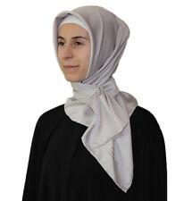 Turkish Aker Satin Square Hijab Scarf 90 x 90cm Solid Grey