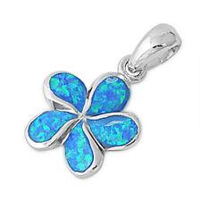 """FREE SHIP! Blue Australian Opal Flower .925 Sterling Silver Pendant 1"""""""