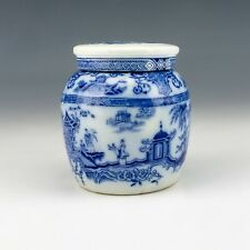 Antique English Pottery - Chinese Inspired Flow Blue & White Ginger Jar