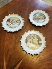 Set Of 3 Currier And Ives Winter Scene Miniature Wall Hanging Collector Plates