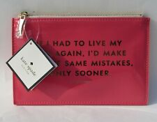 New Kate Spade Same Mistakes Pink Pencil Pouch, Case with Ruler & Other Supplies