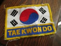 True Vtg 80s TAE KWON DO RECTANGLE CLOTH Patch Embroidered 4x2.5""