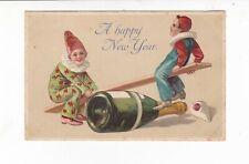 NEW YEAR  greetings VINTAGE  embossed  Artist card 2 CLOWNS  on SEE-SAW Pub.ERIK