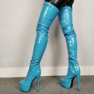 Womens Sexy Over Knee Thigh High Boots Pointed Toe High Heels Platform Zip Shoes