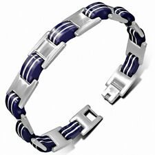 Bracelet With Link Panther Stainless Steel With Rubber Blue 380