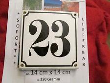 Hausnummer Emaille Nr. 23 schwarze Zahl auf weißem Hintergrund 14cm x 14cm .....