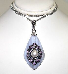 Le Vian CARLO VIANI Amethyst, Pearl & Lavender Agate Silver necklace $747.50