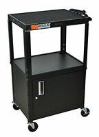 H Wilson Black Metal 3 Shelf Presentation Cart W/ Cabinet