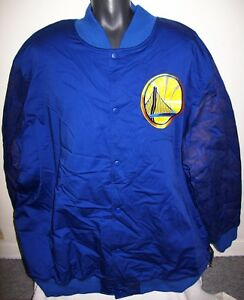 GOLDEN STATE WARRIORS NBA STARTER Varsity Jacket w Logos on Sleeves 5X 6X BLUE