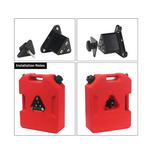 1 Gallon Fuel Pack Spare Fuel Container Gas Jerry Can &Fixed Bracket Mount Stand