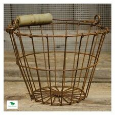 Antique Egg Basket Rusty Metal Wire Primitive Vintage Design Chicken Gathering