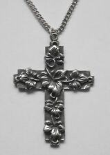Chain Necklace #1331 Pewter CROSS / LEAVES (41mm x 29mm) pendant