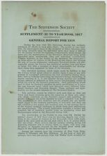 1918 Robert Louis Stevenson Society General Report - Interesting Pamphlet