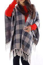 Karierte Markenlose Damen-Pullover & -Strickware im Ponchos-Stil