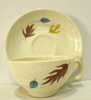 Franciscan Autumn Leaves Cup and Saucer Set Coffee or Tea Mid Century Modern
