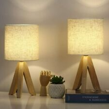 Set of 2 Table Lamps Wooden Tripod Nightstand Lamps & Fabric Linen Shade Bedroom