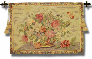 Victorian Wall Hanging Woven Tapestry Designer Art Decor Floral French European