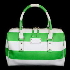 KATE SPADE High Falls Melinda Satchel PXRU3287 Green White Stripe Faux Leather