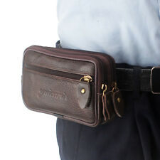 Men Leather Clutch Bag Cell Phone Double Zipper Wallet  Belt Fanny Pack Purse