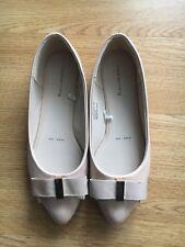 Ladies Beige Patent Ballerinas