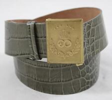 Escada Sport Belt Green Leather Faux Alligator Skin Gold Tone Buckle Size Medium