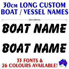 2x30cm long jetski,tinny,runabout CUSTOM BOAT NAME marine grade decal stickers!