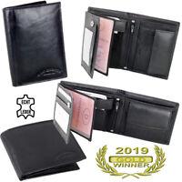 Herren Leder Geldbörse schwarz, Geldbeutel, Portemonnaie, Brieftasche -2 Modelle