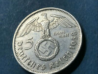 German Nazi coin 5 Reichsmark 1938 E with big swastika 900 silver AG