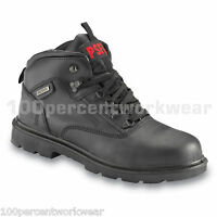 PSF 526SM Black Leather Waterproof Safety Work Boots Shoes Steel Toe Toe Cap New