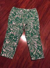Womens LANE BRYANT Green White Tropical Capri Plus Size 16 EUC