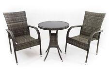 Arona - Set da giardino, 2 sedie e 1 tavolo, in polirattan grigio e vetro nero