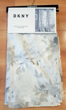 NWT DKNY Light Gray Taupe FLORAL SPLASH Window Curtain Panels 50x96 PAIR Rod