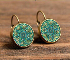 Mandala Bronze Glass cabochon 18mm handmade Earrings Jewelry GB26