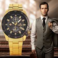 Business Mens Male Gold Stainless Steel Band Watch Date Analog Wristwatch New