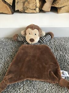 Jellycat Stripey Monkey Soother Comforter Baby Soft Toy Plush Brown Blankie❤️