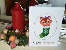 A new machine embroidered hand finished Christmas card --Cat in Sock.