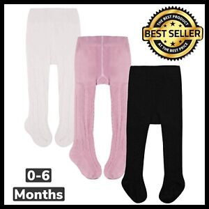Baby Girls Tights Cable Knit Stockings Cotton Pantyhose Infant 3 Pack For 0-6 Mo